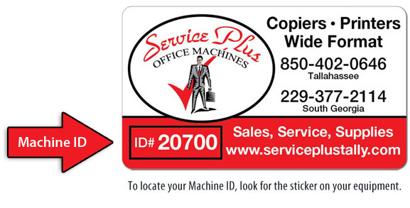 Service Plus Machine ID Sticker